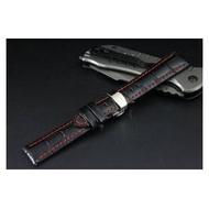 高質感 Banda製作 22mm可替代TAG,BREITLING豪雅 百年靈 原廠錶帶之真牛皮錶帶雙按式蝴蝶彈扣