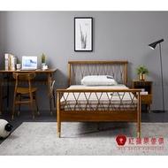 [紅蘋果傢俱]MG1320 金絲檀木(胡桃木紋)系列 4尺床架 單人床 兒童床 北歐風 實木床架 床台  現代簡約風
