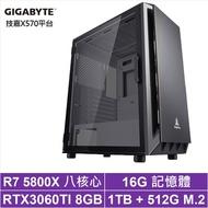 技嘉X570平台[玄鋒教士]R7八核RTX3060TI獨顯電玩機