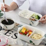 日韓風新款 上班族分隔型陶瓷飯盒可加熱帶飯的便當盒微波爐專用分格保鮮餐盒