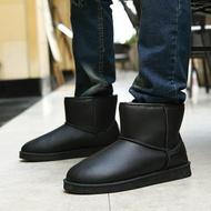 加絨保暖皮面雪地靴男士短靴防水防滑雪地棉男棉靴棉鞋靴子  青木鋪子