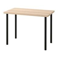 ADILS/LINNMON 書桌/工作桌, 染白橡木紋/黑色