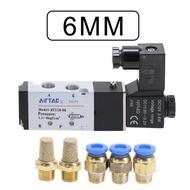 """Airtac 4v110-06 5 Way 2 Position 1/8"""" Pneumatic Solenoid Valve Dc 24v Dc 12v Ac 110v Ac220v With 4mm 6mm 8mm Fitting"""