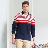 Nautica修身撞色條紋長袖POLO衫-深藍