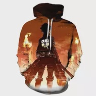 Fashion Attack on Titan Hoodie Cosplay Costume 3D Giant Daily Casual Print Hooded Men's Women Movie Game Pullover