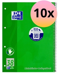 Oxford 100050405 Left-Handed Notepad Squared A4+ 80 Sheets 90 GSM Optic Paper Double Margin Pack of 10 Natural