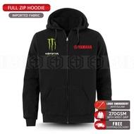 Zip Hoodie Monster Yamaha Embroidery MotoGP Motorcycle Motosikal Superbike Racing Team Casual 125Z LC135 RXZ TZM SRL