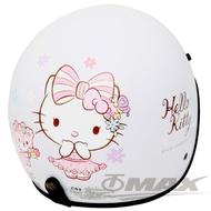 【HELLO KITTY】熊Kitty半罩式機車安全帽-白色+抗uv短鏡片+6入安全帽內襯套(12H)
