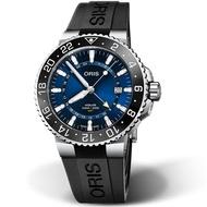 【ORIS 豪利時】AQUIS GMT雙時區陶瓷圈潛水錶(0179877544135-0742464EB 藍)