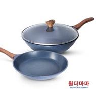 【韓國WONDER MAMA】藍寶石原礦木紋不沾鍋具3件組(炒鍋+平底鍋+鍋蓋)