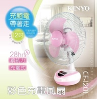 電風扇 限量熱銷 耐嘉 KINYO  CF-1201 12吋充電式風扇 粉色 露營 登山 戶外休閒