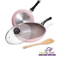 【義大利Mama Cook】綻粉陶瓷不沾鍋具4件組(炒鍋+平底鍋+鍋蓋+木鏟)