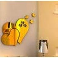 Bokeley Mirror Wall Sticker, 3D Mirror Love Hearts Wall Sticker Decal DIY Home Room Art Mural Decor Removabl (Gold)
