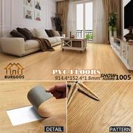 พื้นกระเบื้องยาง พื้น PVC ลายไม้กาวในตัว ขนาด 1 ตารางเมตร(7แผ่น) ยาว91.4x15.2 cm หนา 1.8มม. (1005)