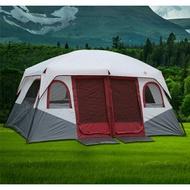 (免運) 露營 帳篷 雙層 二房一廳 10-12人 多人帳篷 客廳帳+內帳+外帳 防雨伸縮自動 大帳棚 2房1廳 防蚊蟲