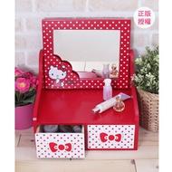 HELLO KITTY 圓點風化妝鏡二抽盒-紅 置物櫃 小物收納 文具收納 三麗鷗 蕾寶 生日禮物 交換禮物 情人節禮物 聖誕禮物 化妝盒