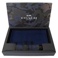 COACH 經典LOGO羊毛圍巾+迷彩摺疊傘禮盒組(藍)