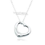 Tiffany&Co. 愛心墜飾 925純銀項鍊-鑲5鑽石