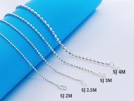"💥READY STOCK💥 (Necklacet S925 Sterling Silver) 銀項鏈 (Rantai Leher Perak) ""Diamond 16 Cut Plain""16面水晶珠鏈(Bola Diamond)"