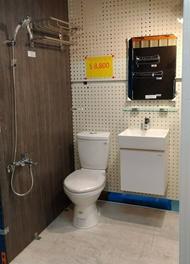 8800全套衛浴套房六件組、CAESAR凱撒衛浴省水馬桶+40CM一體瓷盆浴櫃組、(台製)面盆龍頭+沐浴龍頭+防霧鏡+ST放衣架、現貨供應