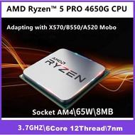 AMD Ryzen 5 PRO Renoir 4650G R5-4650g 6Core 12Thread 3.7~4.2GHz 7nm DDR4 CPU Processor (100-100000143MPK) TRAY ONLY