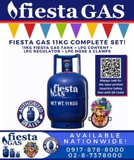FIESTA GAS 11KG LPG TANK COMPLETE SET WITH LPG SNAP ON REGULATOR (DE SALPAK) OR POL VALVE REGULATOR (DE ROSKAS) AND LPG HOSE WITH CLAMPS (PETRON GASUL LPG) AVAILABLE NATIONWIDE READY FOR YOUR GAS STOVE