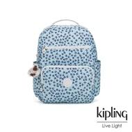 【KIPLING】典雅淡藍小花多容量媽媽包-SO BABY