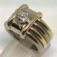 แหวนทองเค (งานนอก) ประดับเพชรแท้ขนาด 0.50 กะรัต น้ำขาว 96 (มีตำหนิ) ตัวเรือนทองคำ 14k (585) สลับลวดลาย 3 สี yellow, pink, white gold น้ำหนักทอง 20.22 กรัม size 53