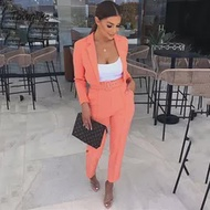 สีชมพูสบายๆผู้หญิงชุดสำนักงานชุดสีส้มชุดผู้หญิง2021 Crop Top และชุดกางเกงสำหรับสตรี Blazer ชุด