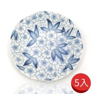 【日本bloom-plus】花凜 染付花舞和風餐盤-5入(美濃燒)