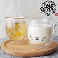 家用大口早餐小熊雞雙層隔熱玻璃水杯子星巴克ins海豹貓
