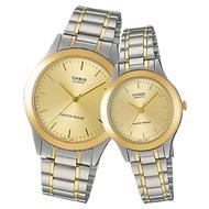【CASIO 卡西歐】經典指針對錶 不鏽鋼錶帶 防水(MTP-1128G-9A+LTP-1128G-9A)