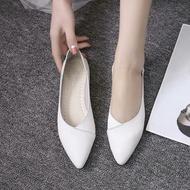 555SDH66 รองเท้าคัชชูส้นแบนหัวแหลมสไตล์เกาหลี หนังนิ่ม