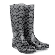 COACH 1235 新款灰黑C Logo防水高筒雨靴/雨鞋