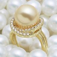 優雅甜美 南洋金珠天然母貝珍珠戒指 貝珠戒圈 925純銀鍍金色指環1入