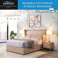 AMOUR MODERN VICTORIAN Genuine Leather Storage Bed Frame Queen Size/King Size