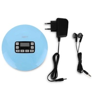 LCD Portable AUX Audio CD Player + Headphone for MP3/CD/CD-R/CD-RW Disk Light Blue EU Plug