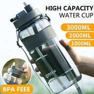 2021 New 1L 2L 3L Sport Water Drinking Bottles with Straw BPA Free Plastic Water Bottle Outdoor Large Drinking Bottle Cups