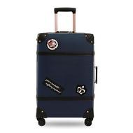 กระเป๋าเดินทางแบบย้อนยุคชุดกระเป๋าเดินทางสีน้ำเงิน2ชิ้นกระเป๋าเดินทาง24นิ้ว + กระเป๋าเครื่องสำอาง14นิ้วPP + PUกล่องกันน้ำรหัสผ่านกระเป๋าลากสีฟ้า/สีแดง