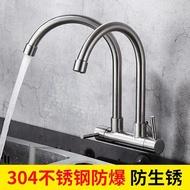 廚房入墻式水龍頭單冷水304不銹鋼洗衣台洗菜盆雙管雙頭水龍頭