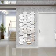 Hexagon Mirror Wall Sticker Sets, DIY Geometric Hexagon Mirror Wall Stickers, 3D Wall Stickers, Personalized Art Hexagonal Acrylic Mirror for Home Living Room Bedroom Decor, 16cm / 6.3inch, 12Pcs