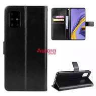 Flip Cover for Samsung Galaxy A51 / A71 Leather Case Wallet - A51 Leather Casing Wallet