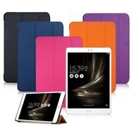 VXTRA ASUS ZenPad 3S 10 Z500M 9.7吋 經典皮紋超薄三折保護套 華碩平板專用摩爾藍