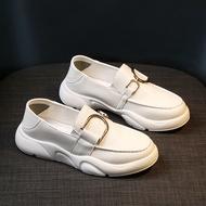 รองเท้าคัชชูผญLittleรองเท้าสีขาวผู้หญิงฤดูร้อนใหม่Casual All-Matchสองสวมรองเท้าLok Fu One-Step Soft-soledรองเท้าส้นเตี้ย