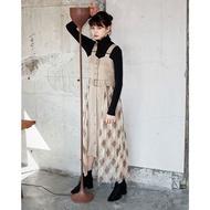 【wei】預購 Redyazel 復古兩側格紋網紗背帶連身裙