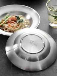 onlycook 304不銹鋼盤子家用食品級圓盤餐盤深盤雙層菜盤碟子餐具