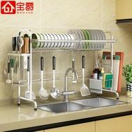 瀝水架 304不銹鋼水槽晾碗架瀝水架廚房置物架2層用品收納水池放碗碟架子
