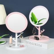臺式化妝鏡子 桌面便攜旋轉美容鏡學生宿舍美容帶底座梳妝鏡