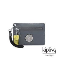 Kipling 沉穩炭石灰簡約手提拉鍊零錢包-HALASI