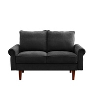 2P Sofa Home Living Room 2-Seater Wooden Frame Couch Black
